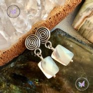 Faceted Mother Of Pearl Silver Swirl Earrings